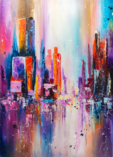 """City on sunset light""  (FRAMED 22"" Х 28"")"