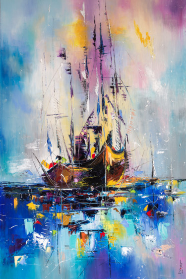 Boat Painting, oil, abstract, artwork by Liubov Kuptsova